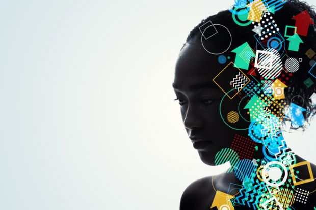 Woman's head full of ideas symbolising interdisciplinarity