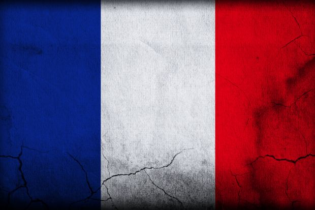 French flag with cracks, France, election