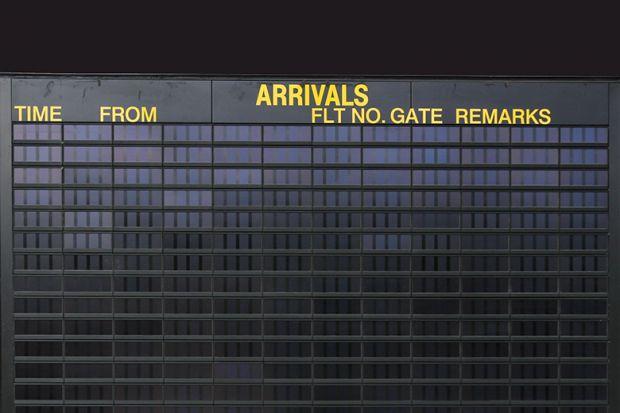 Empty arrivals board