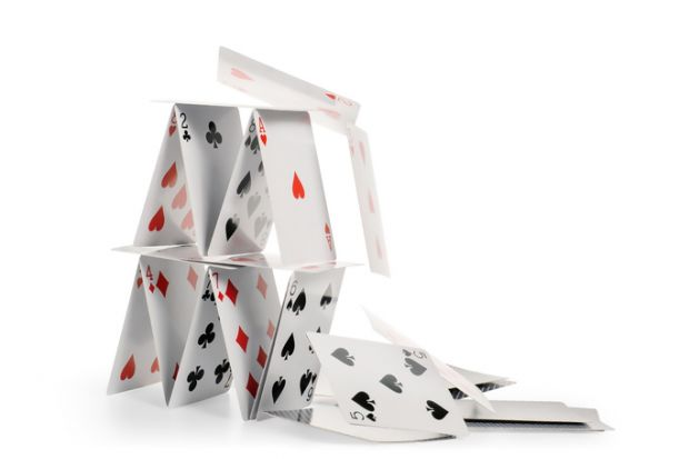 house of cards tenuous precarious risky