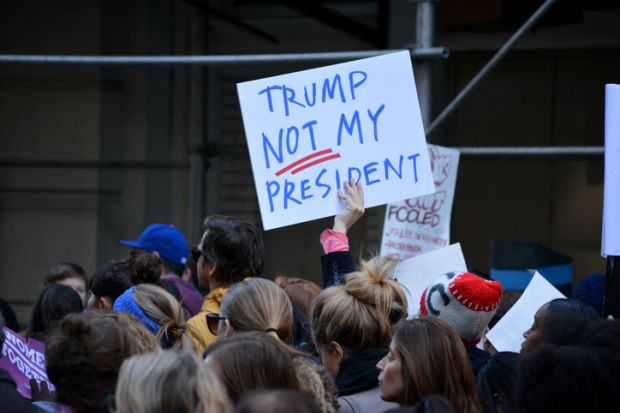 """A """"Trump: Not my president"""" sign"""