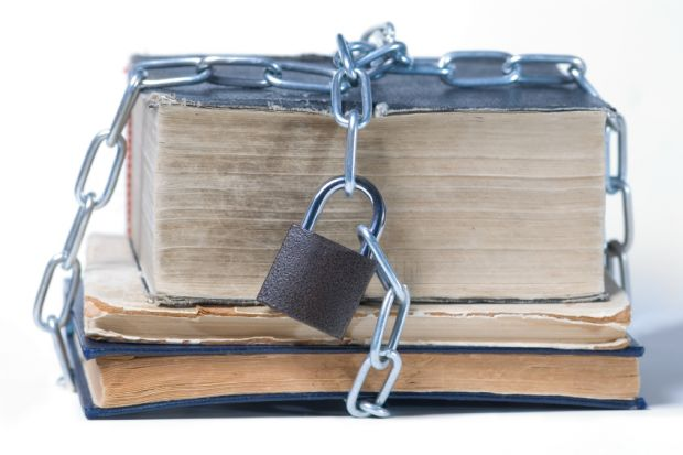 'Copyright' padlock around book