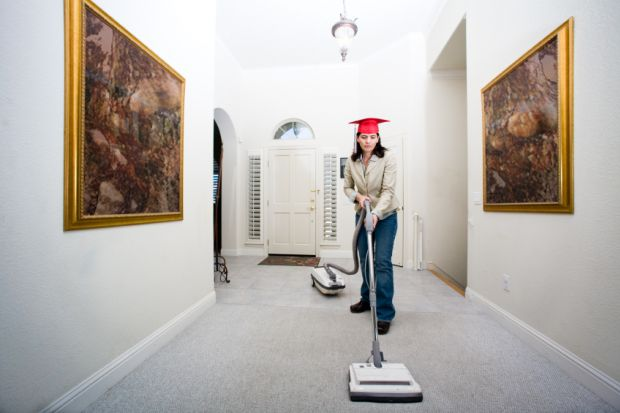 Graduate working as a cleaner