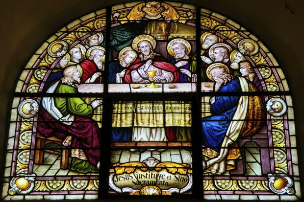 Stained Glass of the Last Supper in the cathedral of Salta (Argentina)