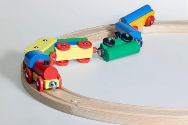 Wooden toy train crash