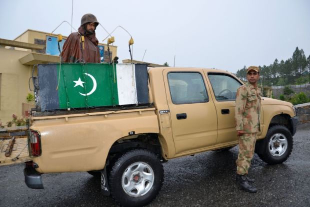 Pakistani soldiers on patrol in the Swat valley