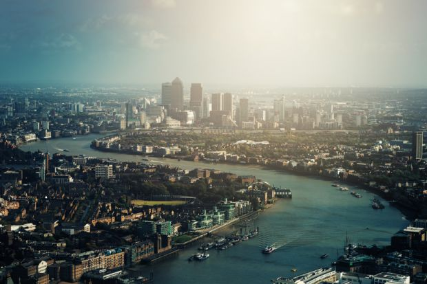 Thames River and Canary Wharf in London