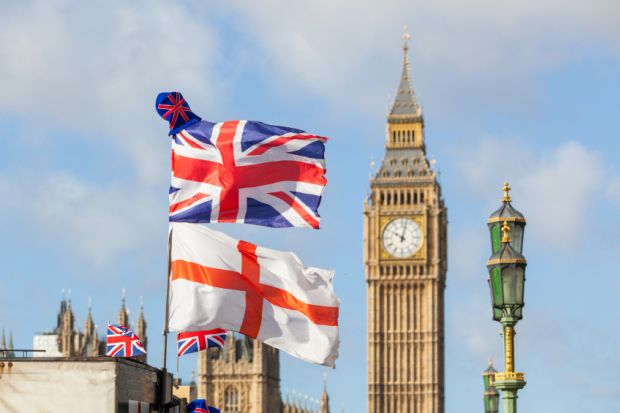 England, union flags at Westminster