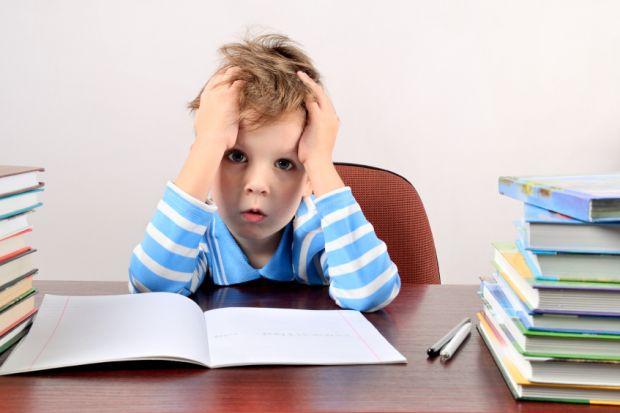 Boy struggling with schoolwork