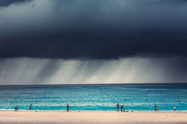 Storm approaches a beach in Greece