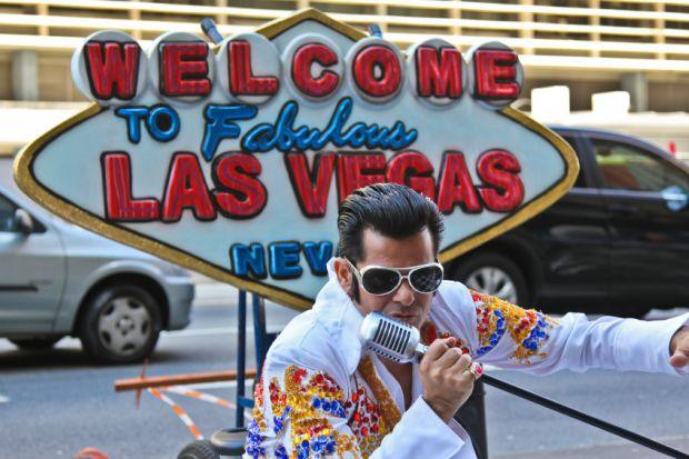 Elvis Presley impersonator in Sao Paulo, Brazil