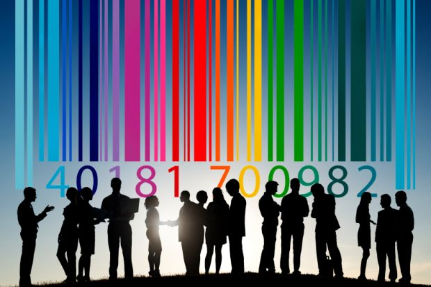 Group of people with multi-coloured barcode