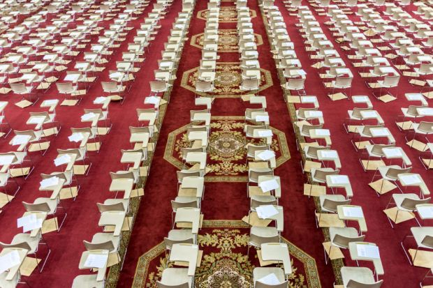 Row of chairs for university exam in Saudi Arabia