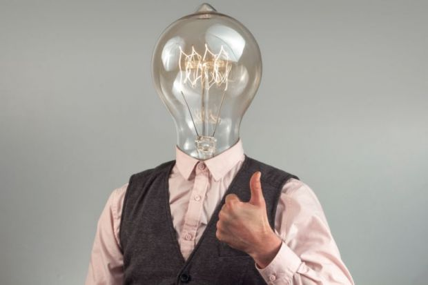 Man with lightbulb head