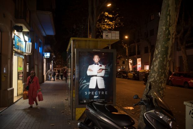 James Bond poster bus stop