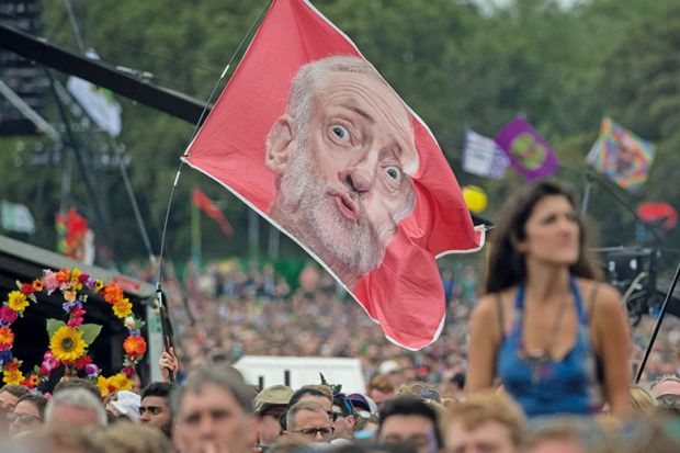 Jeremy Corbyn flag at Glastonbury