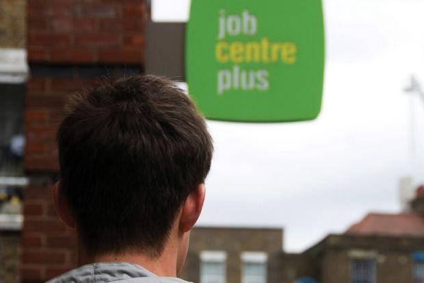 Young man looking at the job centre