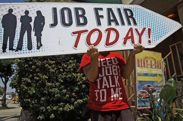A job fair sign