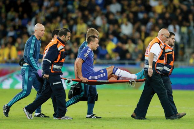 John Terry, Chelsea Football Club, carried off pitch on stretcher