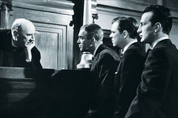 Joseph Welch, James Stewart, Brooks West and George C. Scott, Anatomy of a Murder, 1959