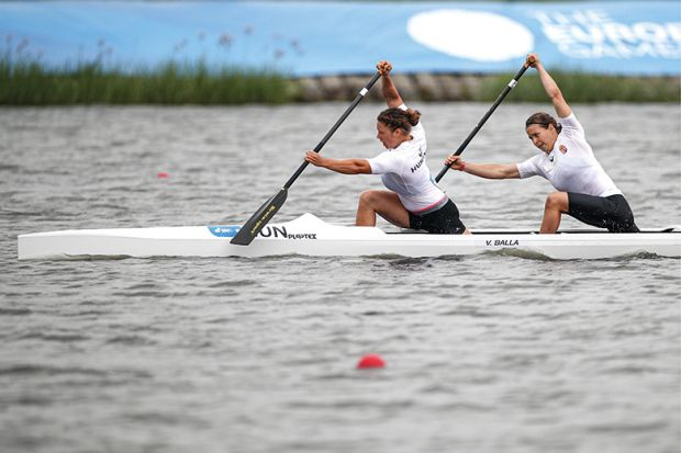 Two women kayaking