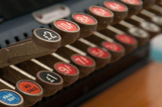 Keys of vintage cash register