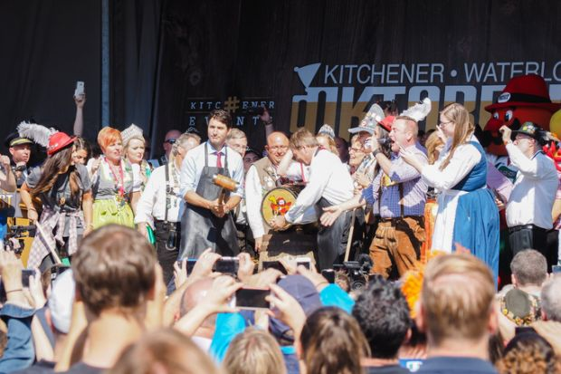 Kitchener, Ontario, Canada - October 7, 2016 Canadian Prime Minister Justin Trudeau prepares to tap the keg to open Oktoberfest.