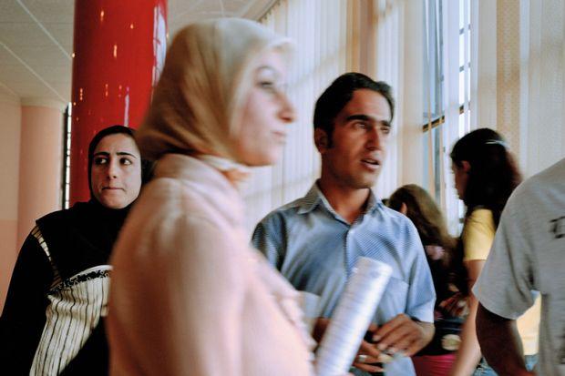 Kurdish students in the hallway of Sulaymaniyah University