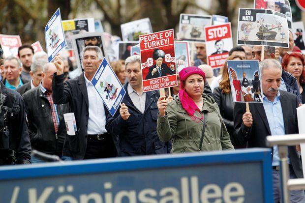 Kurdish community protestors in Germany