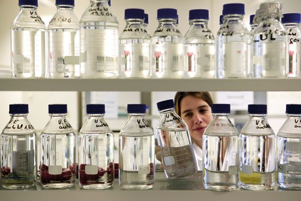 A female scientist looking at bottles of chemicals in a lab