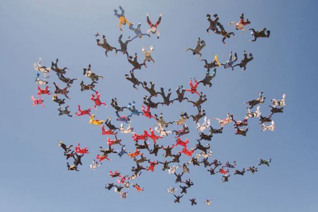 Large formation of skydivers