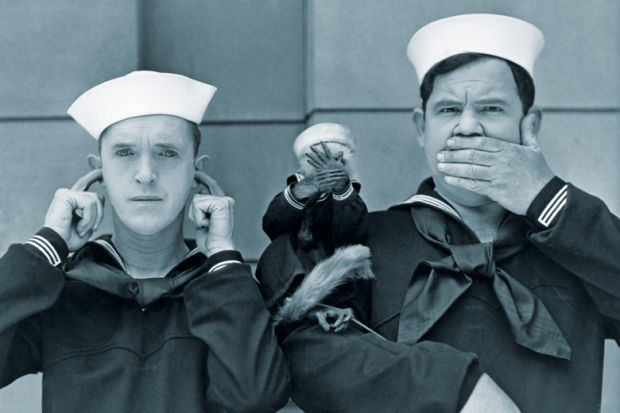 Laurel and Hardy with monkey, see no evil, hear no evil, speak no evil