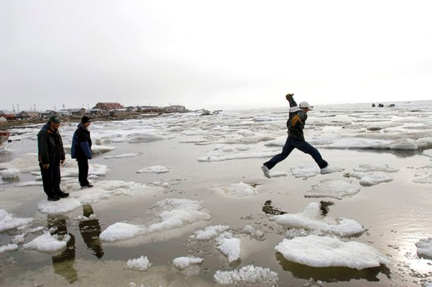 Leaping across ice
