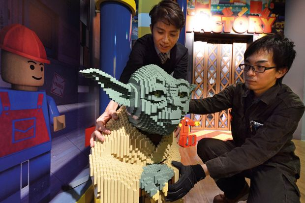 Yoda figure made from Lego