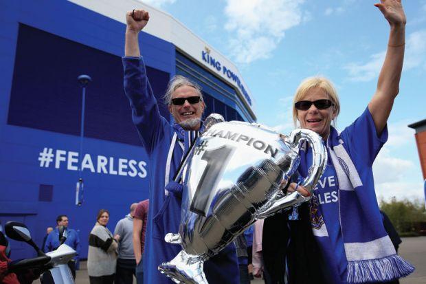 Leicester City football/soccer fans celebrating premier league victory