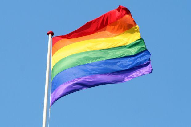 LGBT flag flying