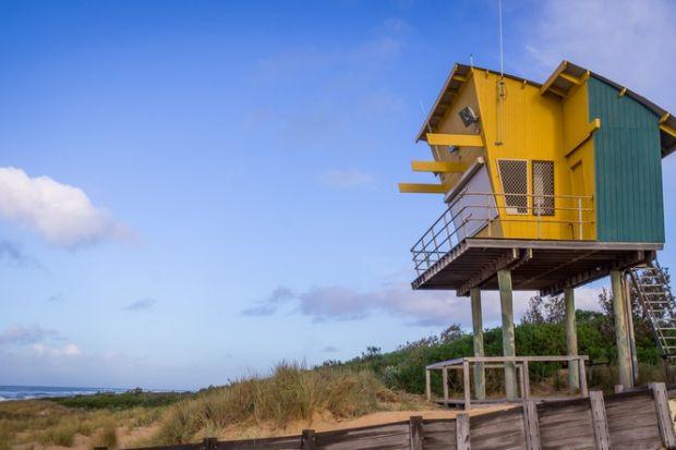 Lifeguard Tower at Lakes Entrance Beach, Victoria, Australia