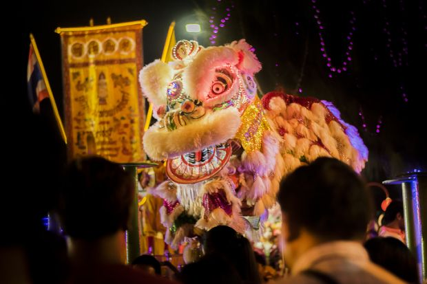 Lion dancing in China