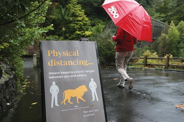 Social distancing sign at Auckland Zoo