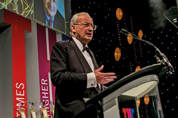 Lord Sainsbury of Turville, University of Cambridge, speaking at Times Higher Education Awards 2016