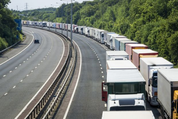 Lorries Parked on the M20 Motorway in Operation Stack