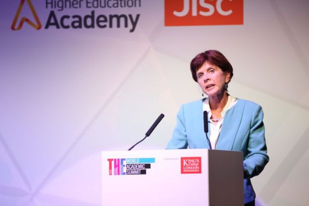 Louise Richardson speaks at the Times Higher Education World Academic Summit, held at King's College London