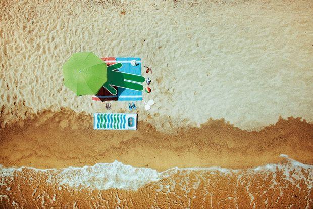 Lying on a sunny beach