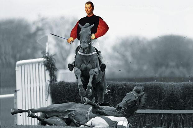 Perfect Machiavelli Jumping Over A Horse