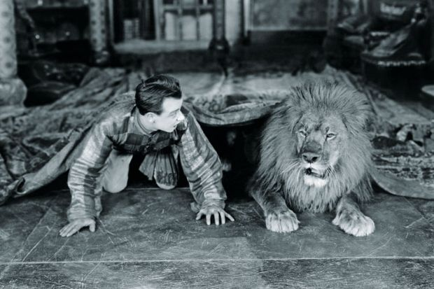 Man and lion lying beneath rug