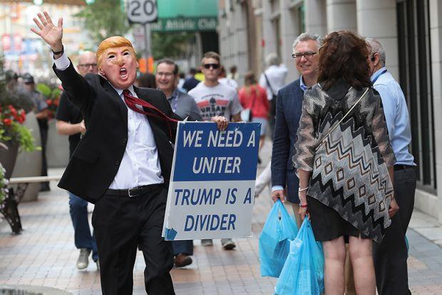 Man in Trump mask
