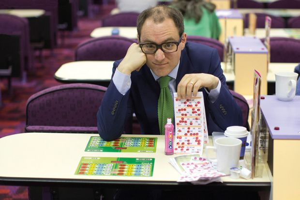 Man playing bingo, Camden Town Bingo Hall, London