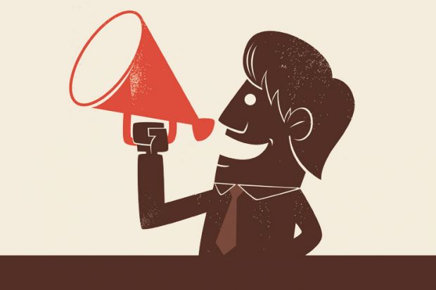 Man speaking through megaphone (illustration)