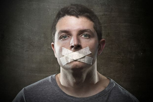 Man with tape covering mouth