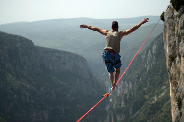 Man crossing gorge